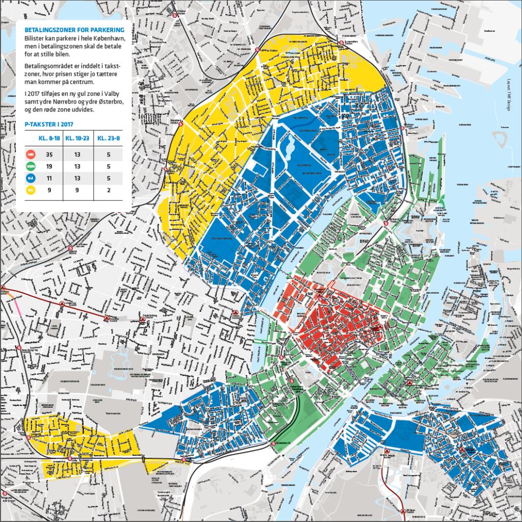 Ny gul parkeringszone i København fra marts 2017. Kort: ©Københavns Kommune