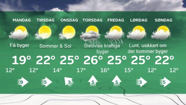 Vejrudsigt, søndag 17. juli 2016 Grafik: ©TV2 Vejret