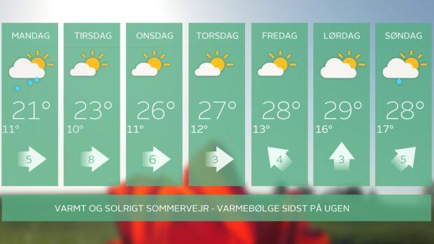 Sommervejret vender tilbage - med varmebølge sidst på ugen