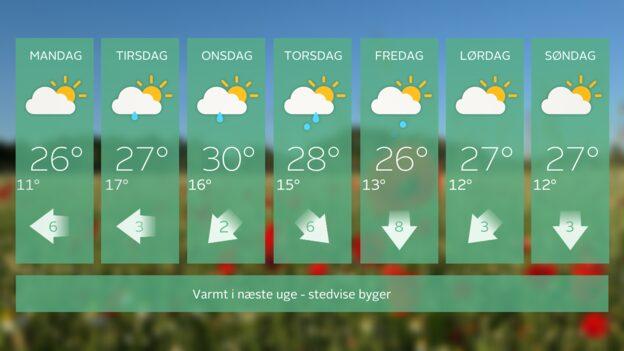 Danmark har udsigt til 14 varme sommerdage i træk - mindst